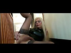 Joanna Jet in Latex Black Dress