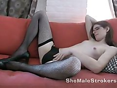 Slim TS Michelle Tranny Jacking Off In Fishnet Stockings