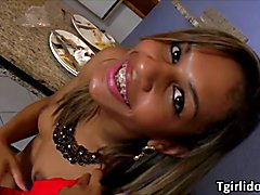 Teen shemales Gaby and Bianca plays with a guy in a threesome ass fuck