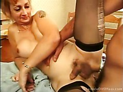 Stockinged TS milf gets rammed