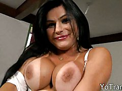 Lusty latina shemale takes cock in anus
