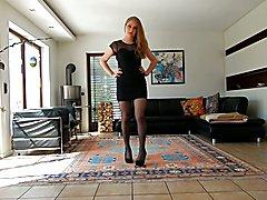 Crossdresser wears a black prom dress