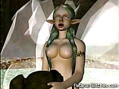 3D Futanari Fairy Cums In Teen Mouth!