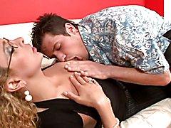 Gorgeous blonde Fernanda gets ass pounding on a white sofa