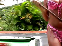 Bigtitted T-girl fondles bigtits and jacks off on pool table