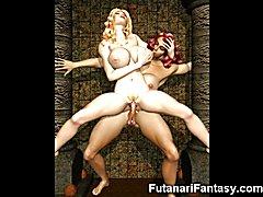 3D Futanari Girls with Monster Cocks!