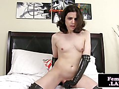 Amateur newbie trap jerks cock and toys ass