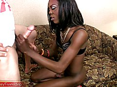 Sultry ebony shebabe poses nude and gives a blowjob in POV