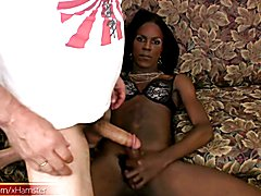 Dark skinned black T-girl eats cock and gets ass fingered  - clip # 02