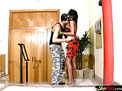 Black shemale sucks white cock and gets fucked from behind  - clip # 02