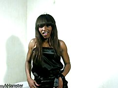 Sultry ebony t-babe enjoys striptease and shemeat jerking  - clip # 02