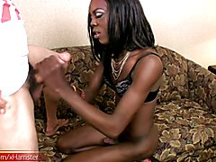 Sultry ebony shebabe poses nude and gives a blowjob in POV  - clip # 02