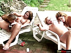 Four mischievous trannys get kinky with messy whipped cream  - clip # 02