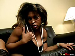 Full figured black TS exposes black boobs and huge shecock  - clip # 02