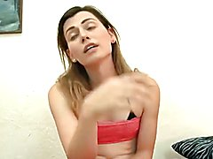 Hottest ever! Cute tgirl rides & cums while fucked