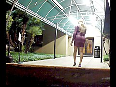 Smoking in Purple Dress and Stilettos