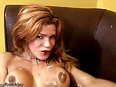 Bigtitted shemale swings around her freshly shaved big cock  - clip # 02