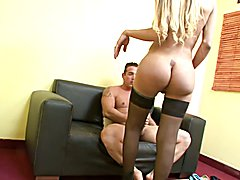 Curvy blonde shemale bends over in only stockings for anal penetration