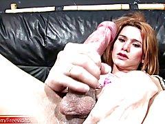 Smokin hot t-girl jerks off her meatstick until she creams  - clip # 02