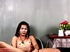 Ladyboy with big ass and spicy hairy cock jerks till cumshot