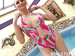 Shemale Barbie is going to take your virgin ass for a ride  - clip # 02