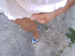 Outdoor Exhib walk in pantyhose ans stilettos  - clip # 02