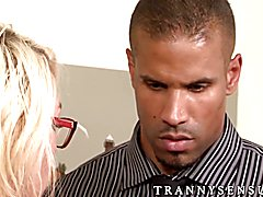 Blonde shemale Aubrey Kate gets pounded roughly on a sofa  - clip # 02