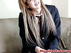 Jap schooluniform tgirl gets cock railed  - clip # 02