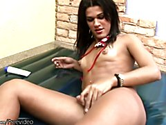 Black hair feminine tranny is playing with her puffy nipples  - clip # 02