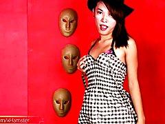 Alluring Filipino ladyboy plays with her suckable cock head  - clip # 02
