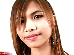 Asian tranny gets her girl rod jerked and mouth full of dick  - clip # 02