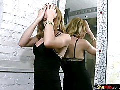 Blonde TS in sexy stockings surprises with pretty long cock  - clip # 02