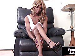 Bigdick ebony fembois wanks her chocolate bar