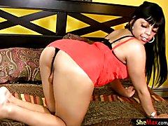 Feminine ebony tgirl reveals and shakes her black bubble ass  - clip # 02