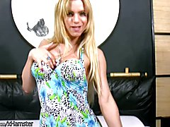 Big ass tranny poses in blue dress and sexy leather thongs  - clip # 02