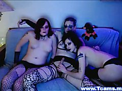 Horny Goth Shemales Do a Kinky Threesome