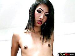 Asian ladyboy beauty handjobs tourists dick on camera in POV