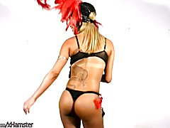 Tanned shemale beauty strips off and plays with her shedick  - clip # 02
