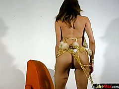 Pretty face tranny dressed up for carnival strokes big cock  - clip # 02