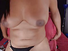 Busty Shemale Hottie Plays Her Long Cock  - clip # 02