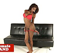 Bigtitted black tgirl with large dick jerking