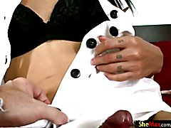 Attractive ladyboy eats thick dick all the way up to balls  - clip # 02
