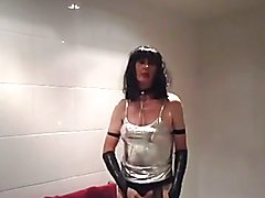 Cum job in silver latex