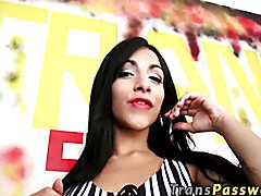 Gorgeous shemale Lana Davalos just loves glory hole action