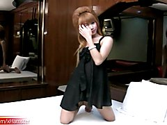 FULL video of Feminine ladyboy teasing and tuggin girl shaft  - clip # 02