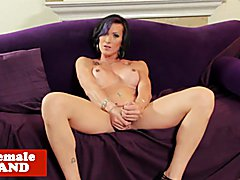 Bigtitted tattooed tgirl tugging her cock