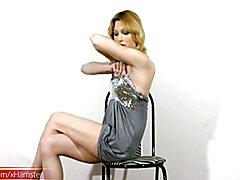Blonde tranny with pretty boobs does hardcore masturbation  - clip # 02