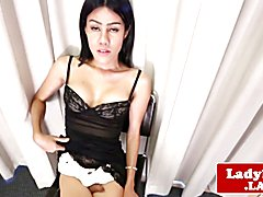 Tattooed latina tgirl tugging her hard cock