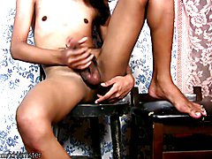 Filipino beauty is fingering shaved ass while jerking pecker  - clip # 02