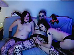 Horny Goth Shemales Do a Kinky Threesome  - clip # 02